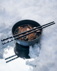 oriental soup on ice snow background