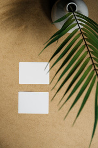 Top view of two blank paper sheet cards on a kraft background with a palm leaf Beige or sand tones Mockup for business template copy space