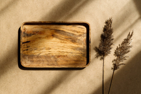 Top view of an empty wooden tray decorated dry grass Beige or sand tones Creative composition of sunlight with shadows