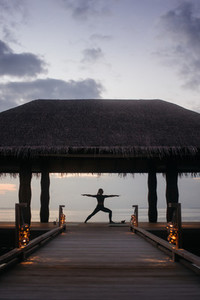 Yoga at an exotic beach resort