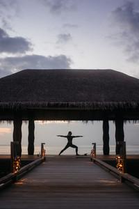 Yoga at an exotic beach resort