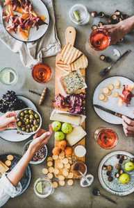 Seasonal picnic with rose wine  cheese  charcuterie and appetizers