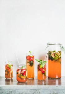 Cold refreshing soft drink  Homemade fresh strawberry and basil lemonade