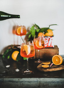 Aperol Spritz cocktail in glasses with orange slices