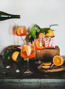 Aperol Spritz cocktail in glasses with orange slices