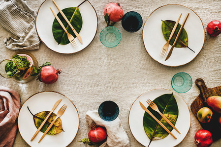 Autumn table styling or setting for holiday celebration  copy space