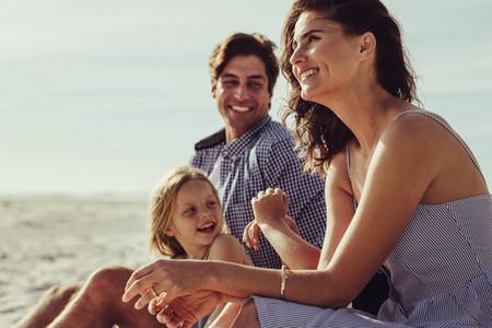 Family having enjoyable day on the beach