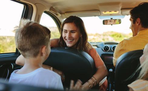 Family enjoying on their road trip