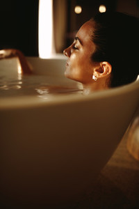 Woman enjoying a relaxing bath