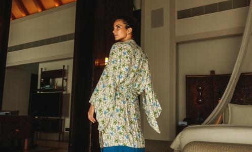 Tourist woman at luxury hotel