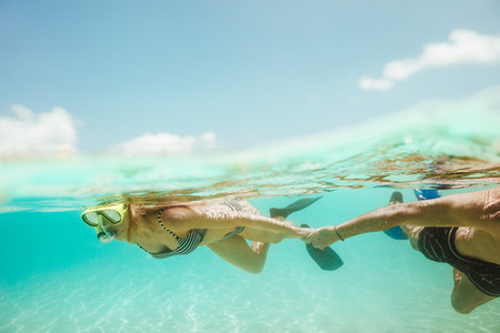 Exciting underwater diving on a holiday