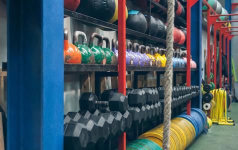 Shelves with sports equipment indoor