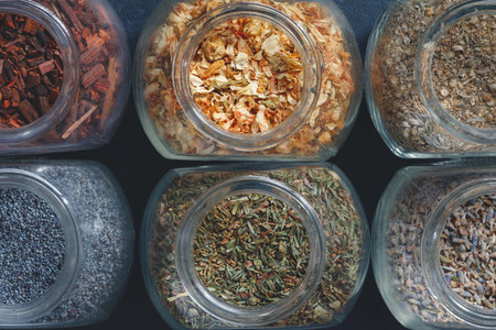 Top view of dried herbs and spices