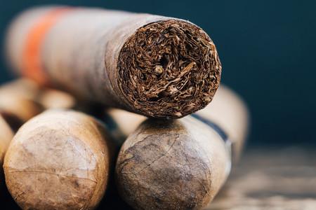 Close up of Cuban cigars on brown marble  Macro shot