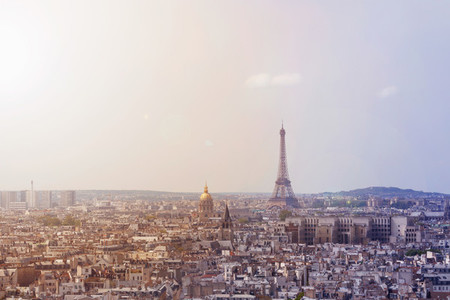 Cityscape of Paris France View of the Eiffel tower Toned image