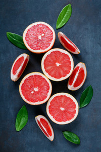 Top view of grapefruits