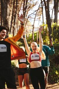 Marathon runners celebrating their win