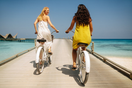 Amazing bicycle ride on a jetty