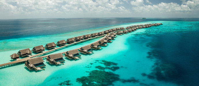 Luxury tourist resort at an island in the Maldives