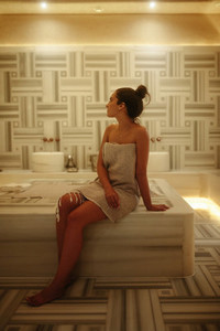 Woman at a refreshing Turkish bath house