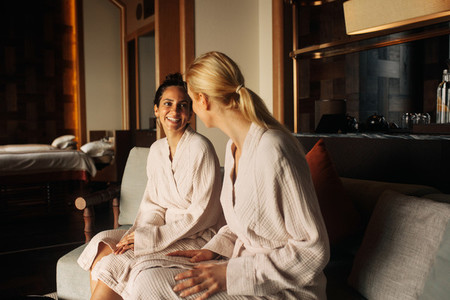 Women sitting at a spa