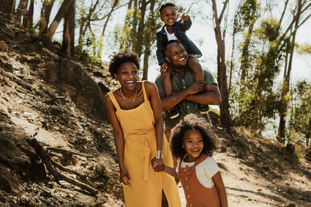 Young family enjoying their holidays in a national park