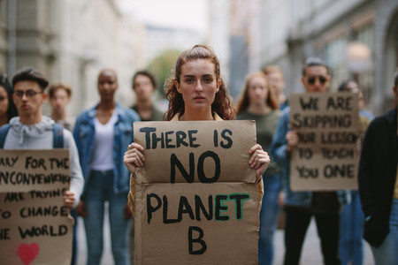 Activists protesting over global warming and pollution