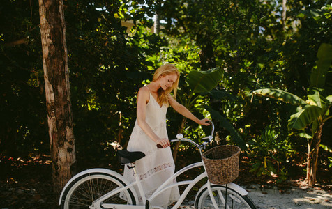 Woman enjoying a bicycle ride