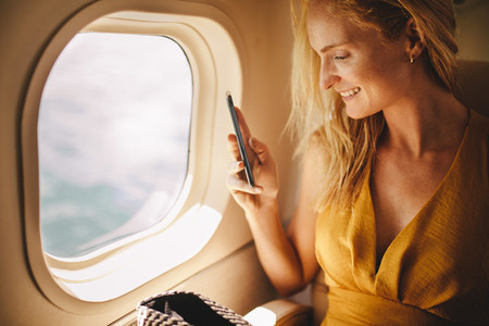 Woman enjoying air travel