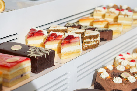 Cakes in the window of a bakery