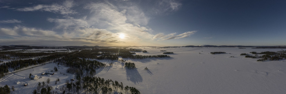 Scenic view sunset over snow covered landscape
