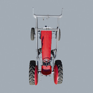 View from above red tractor on blue background
