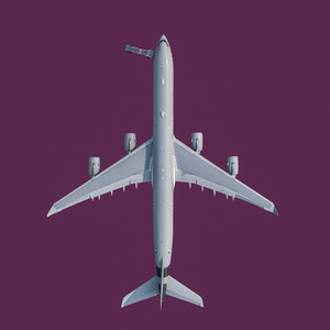 View from above airplane on purple background