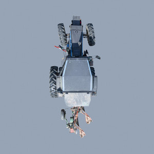 View from above tractor on blue background