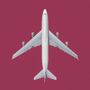 View from above airplane on pink background