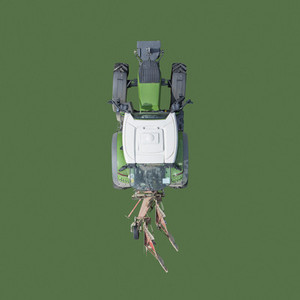 View from above tractor on green background