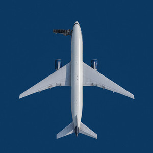 View from above airplane on blue background