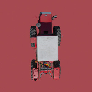 View from above tractor on red background