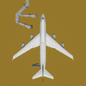 View from above airplane on yellow background