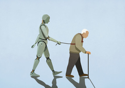 Robot walking senior man on leash