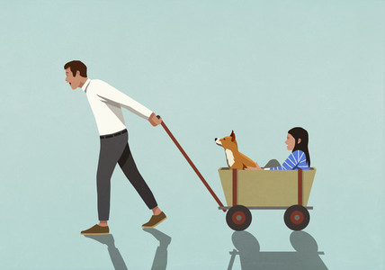 Father pulling wagon with daughter and dog