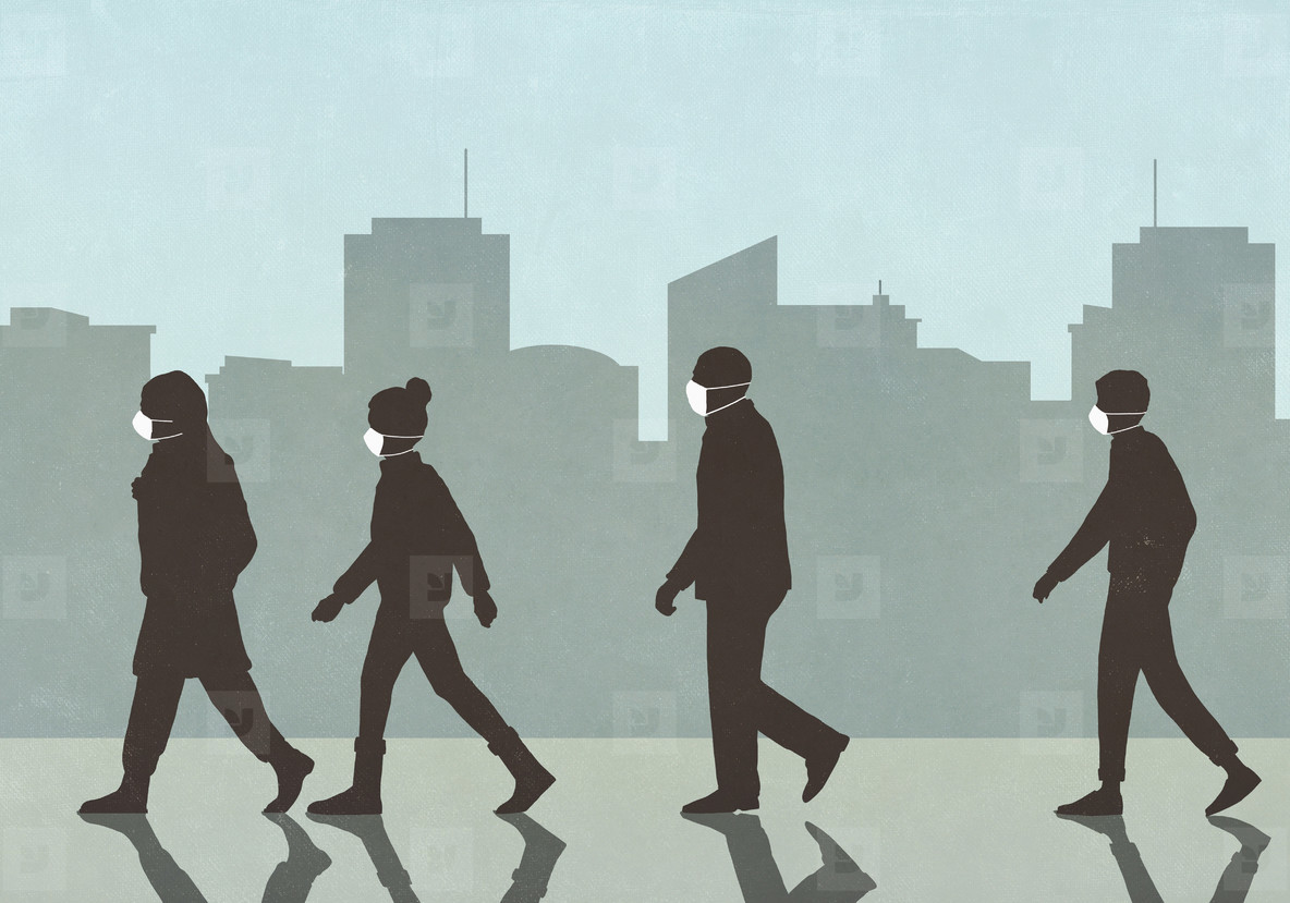 Pedestrians in flu masks walking in city