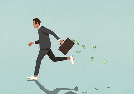 Businessman running with briefcase full of cash
