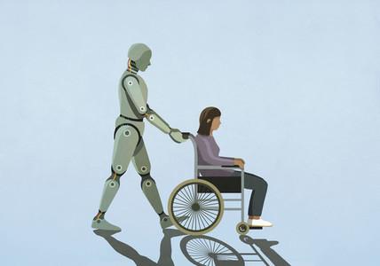 Robot pushing woman in wheelchair