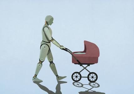 Robot walking baby carriage
