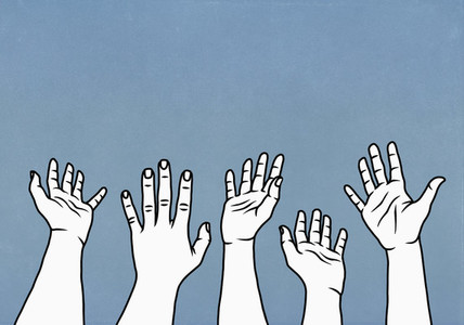 Hands raised  reaching against blue background