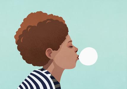 Young woman blowing bubble gum bubble