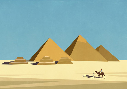 Travelers with camel in front of Egyptian pyramids in sunny desert