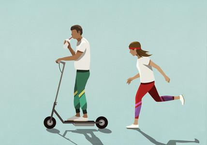 Woman chasing boyfriend riding motorized scooter