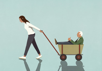 Woman pulling senior grandfather in wagon